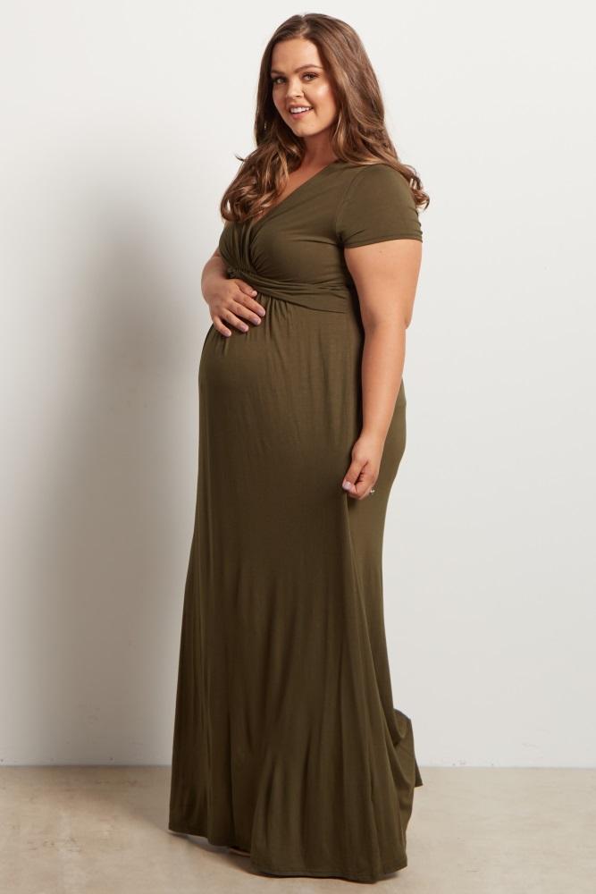 b3d890ab213 Olive Green Draped Maternity Nursing Plus Size Maxi Dress