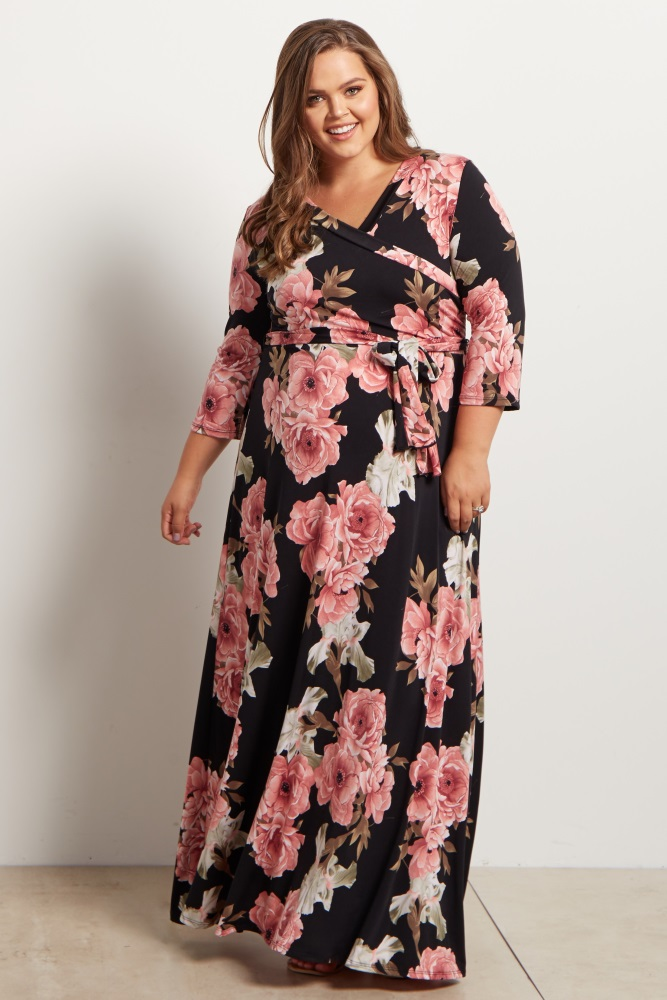 Black Floral Sash Tie Maternity/Nursing Plus Size Maxi Dress