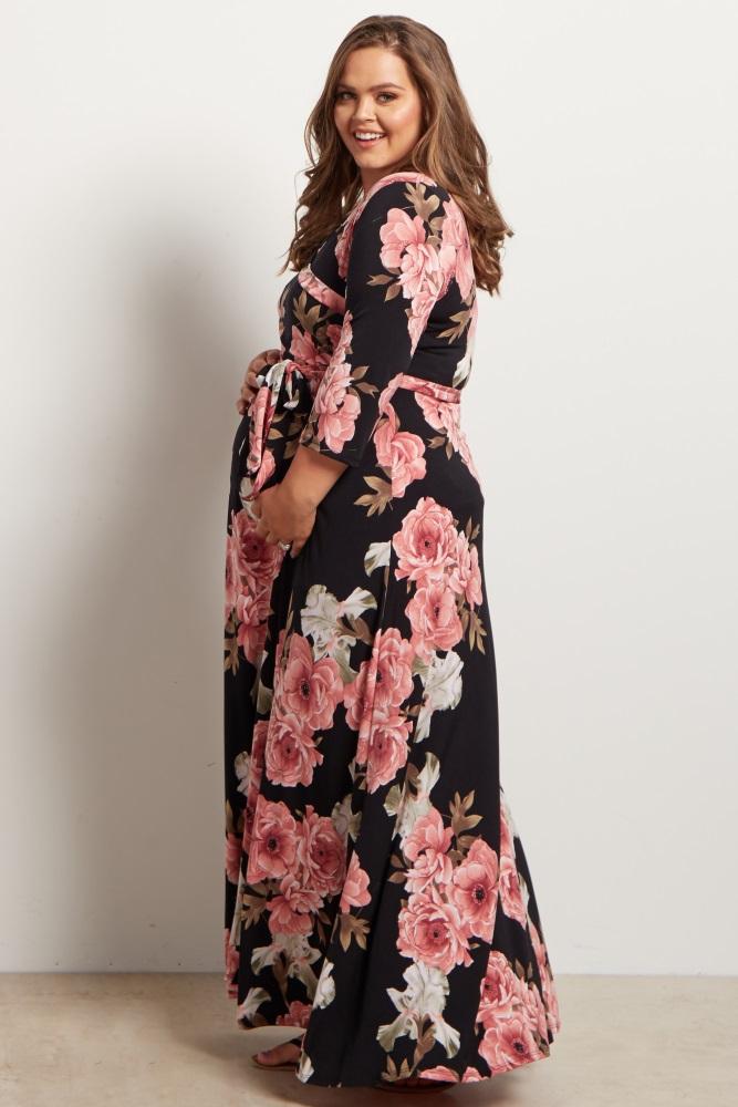 47170123a2d66 Black Floral Sash Tie Maternity/Nursing Plus Size Maxi Dress