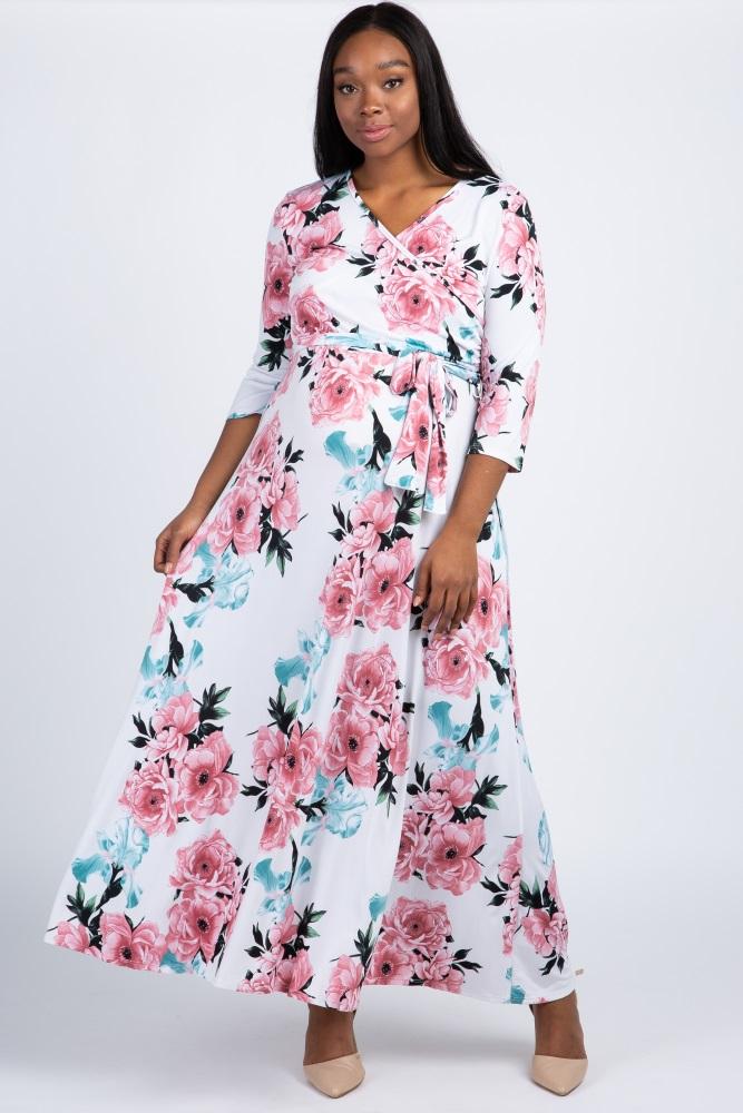 7bc37d50d8d White Floral Sash Tie Maternity/Nursing Plus Maxi Dress