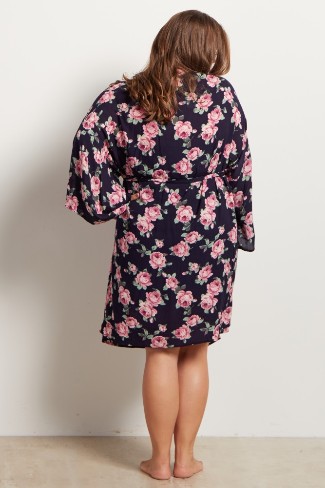 02b2b58b24d21 Navy Blue Floral Delivery/Nursing Maternity Plus Size Robe