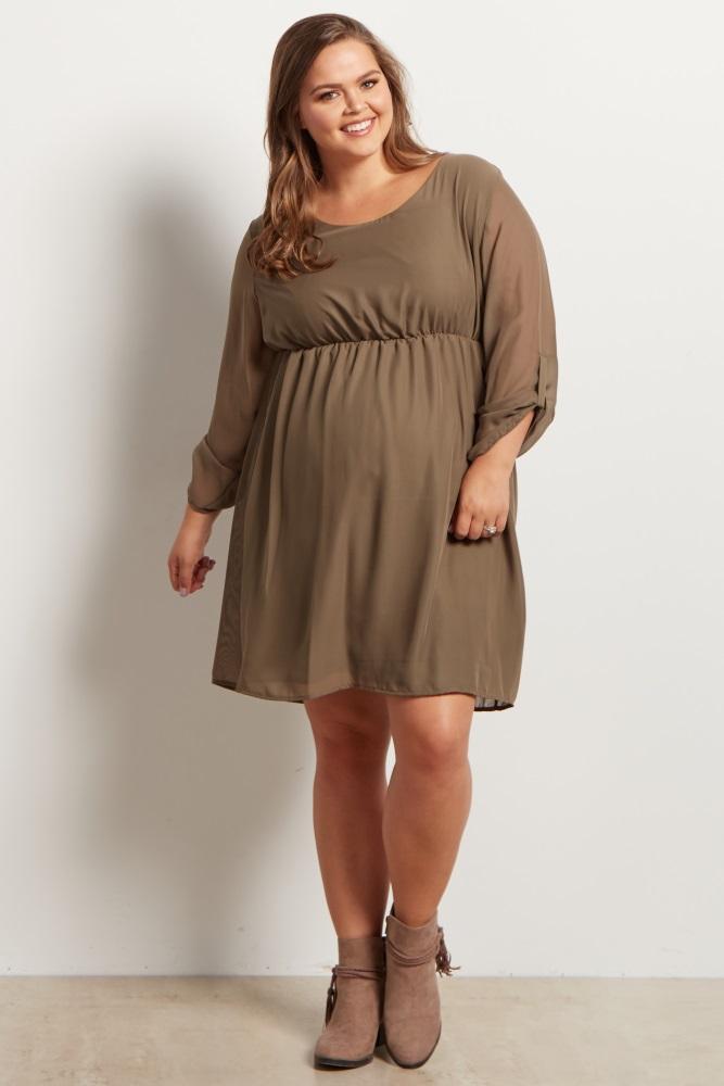 Olive Green Chiffon Plus Size Maternity Dress