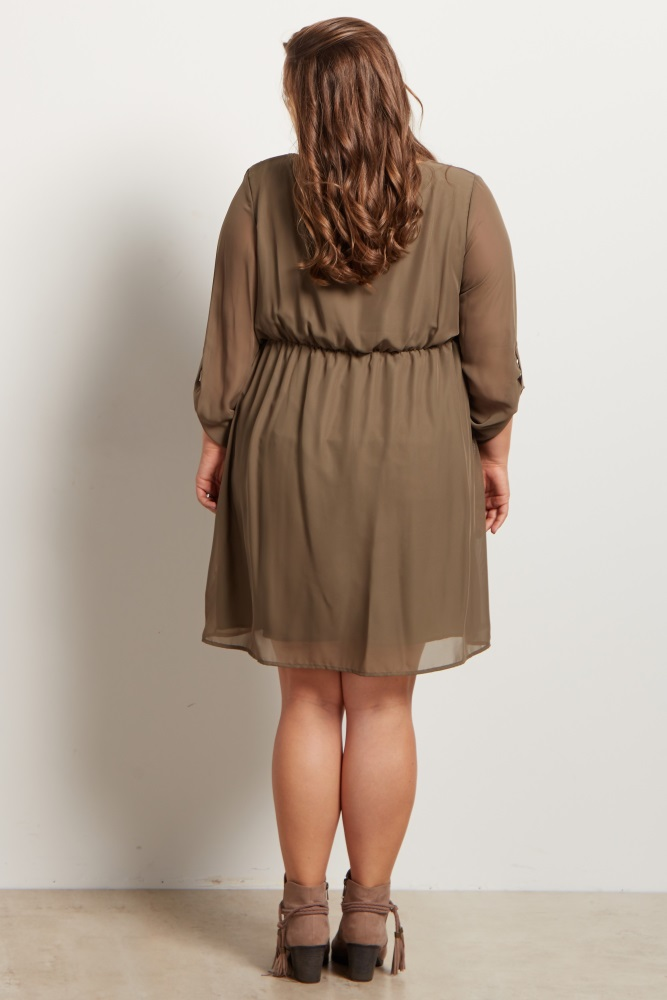 f00425ddffa Olive Green Chiffon Plus Size Maternity Dress