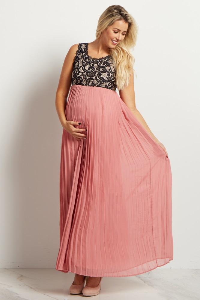a5fcbb19a4c Mauve Pleated Chiffon Lace Top Maternity Maxi Dress