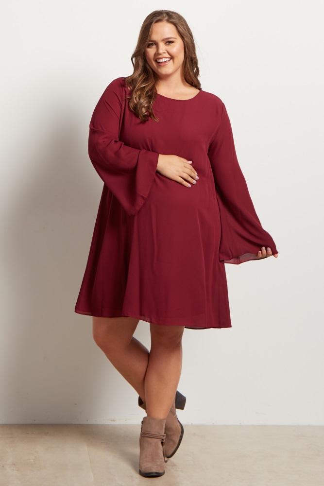 Burgundy Chiffon Bell Sleeve Plus Size Maternity Dress