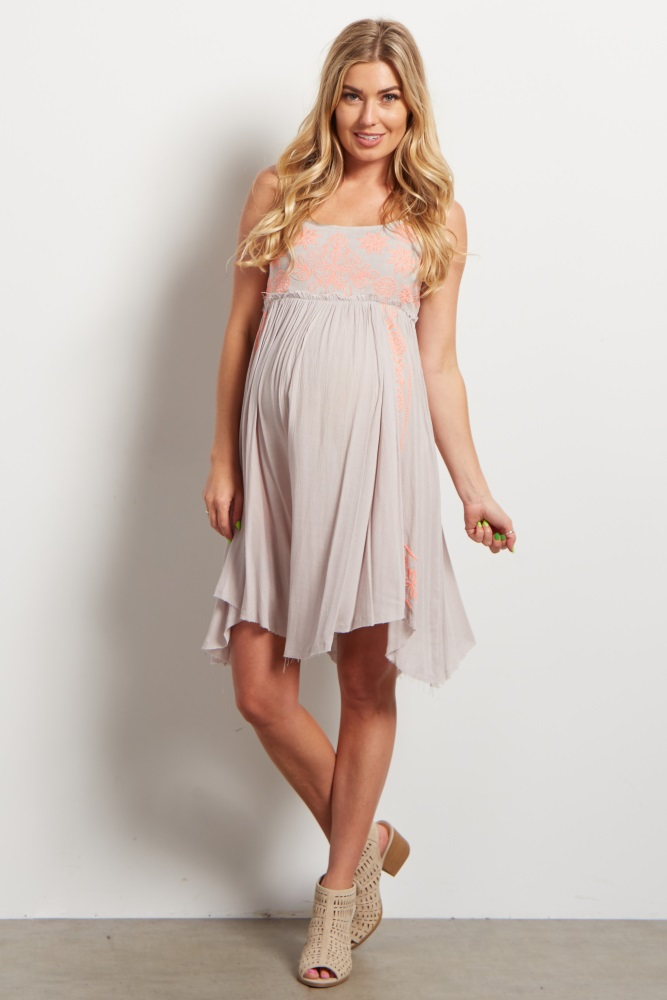 29c78719fb87b Taupe Neon Floral Stitched Accent Frayed Maternity Dress