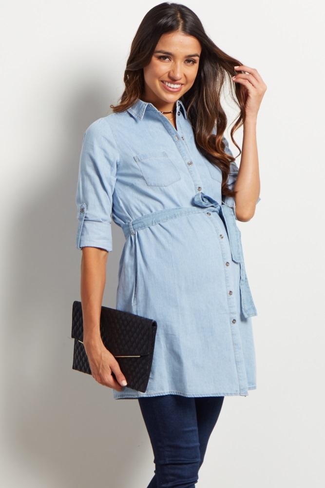 1bfafd9541e58 Light Blue Chambray Sash Tie Maternity Tunic