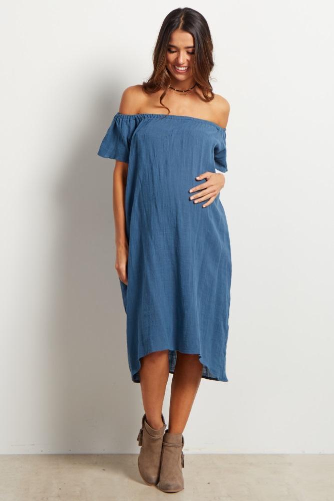 75bce06f9ffde Denim Off Shoulder Pocket Maternity Dress