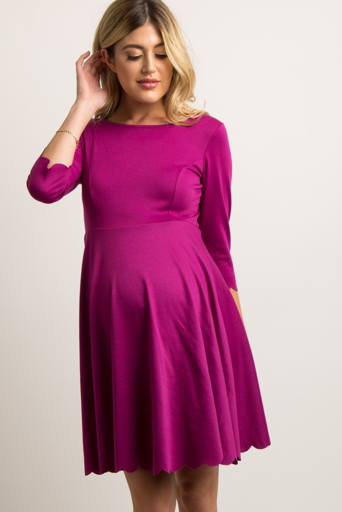 f4cb8ef5334d6 Magenta Solid Scalloped Hem Maternity Dress