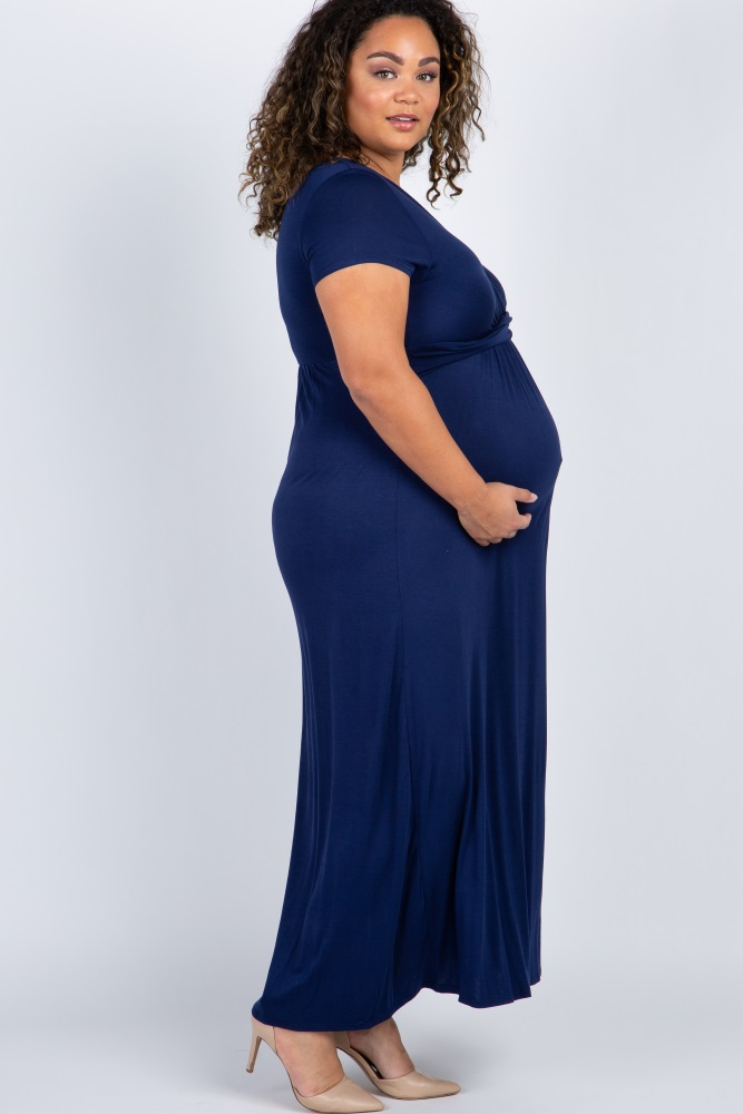 fda3f63a76cf2 Navy Blue Draped Maternity/Nursing Plus Maxi Dress