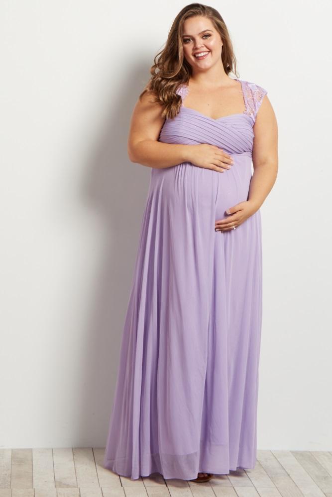 ac828d0a26b Lavender Lace Accent Chiffon Maternity Plus Evening Gown