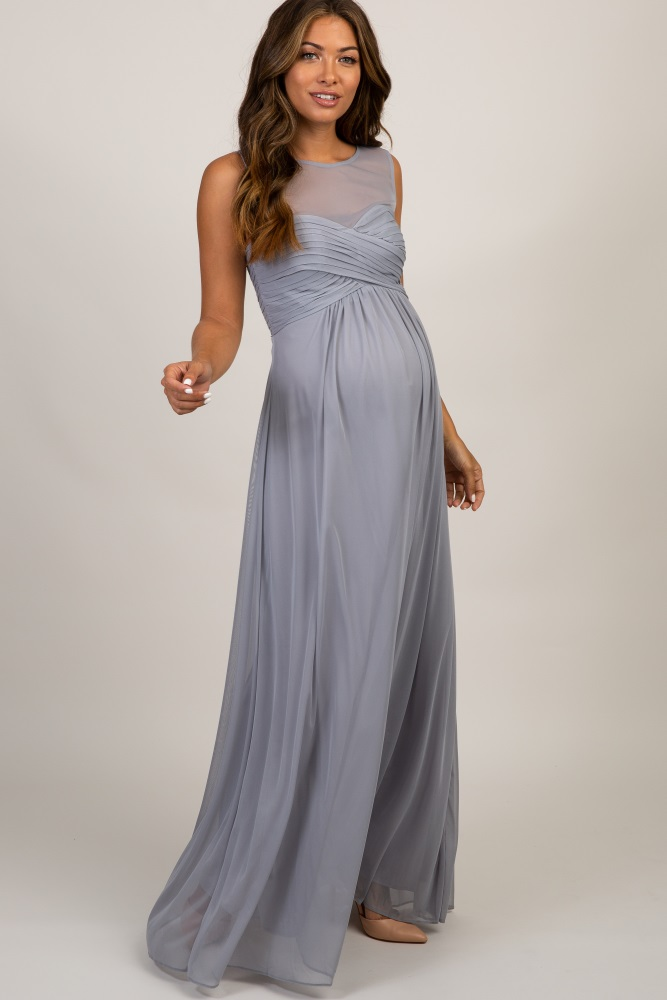 e22a1e5854550 Grey Mesh Neckline Ruched Bust Maternity Evening Gown