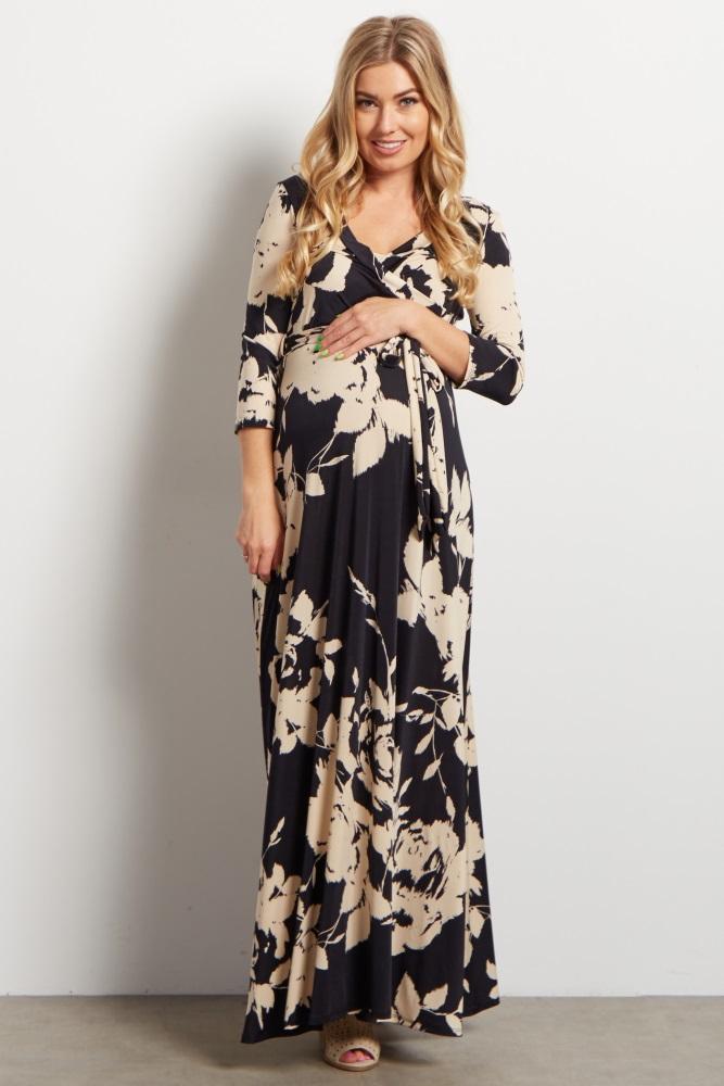 3508f03ece Black Floral Print Draped 3 4 Sleeve Maternity Maxi Dress