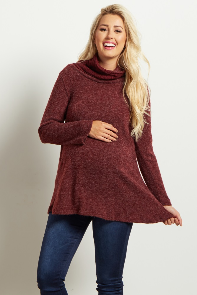 d91f9e826da3 Burgundy Crochet Accent Cowl Neck Knit Maternity Sweater