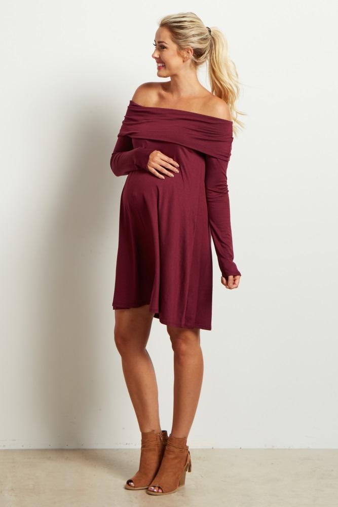84f8b69631 Burgundy Off Shoulder Long Sleeve Maternity Dress