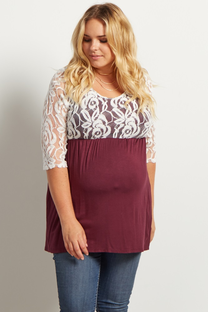 1a20a53955045 Burgundy Lace Overlay 3/4 Sleeve Flowy Plus Maternity Top