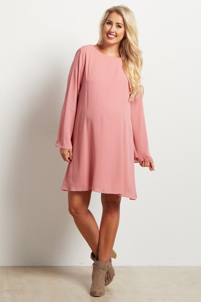 bb1c1ff8bb Mauve Chiffon Bell Sleeve Maternity Dress