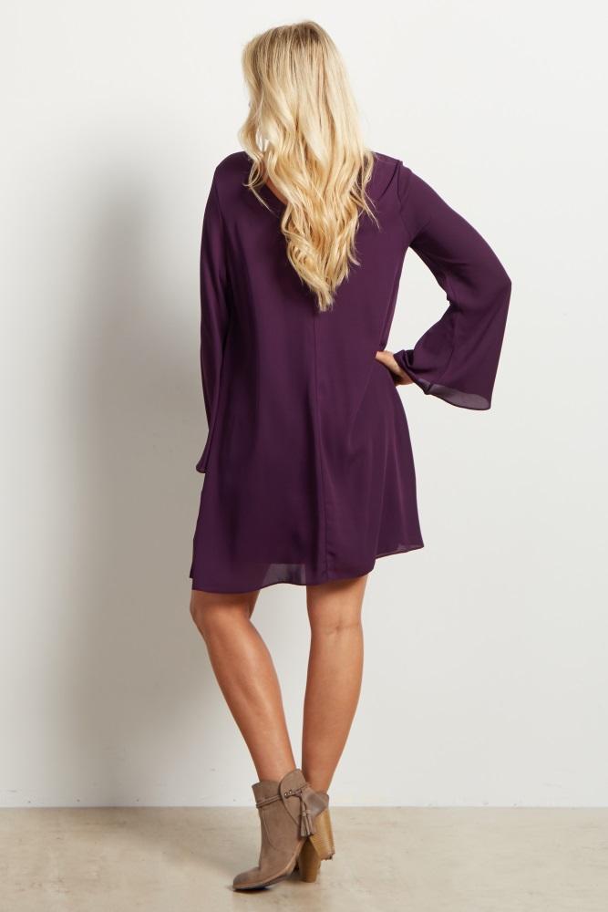 ce86e2c192 Purple Chiffon Bell Sleeve Maternity Dress