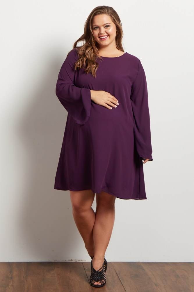 Purple Chiffon Bell Sleeve Plus Maternity Dress