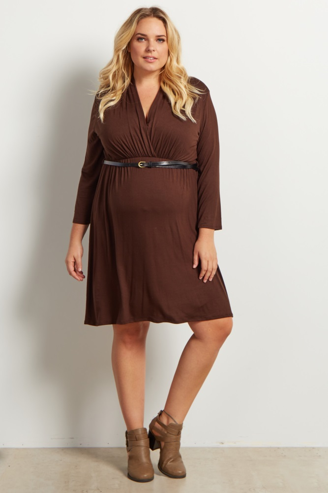Brown Belted 3/4 Sleeve Plus Size Maternity/Nursing Dress