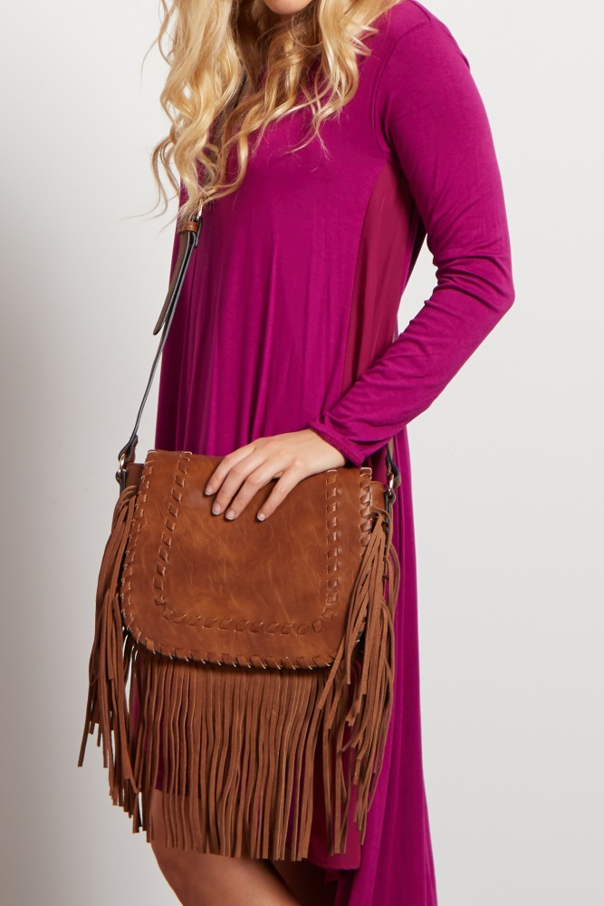 Brown Faux Leather Fringe Crossbody Bag