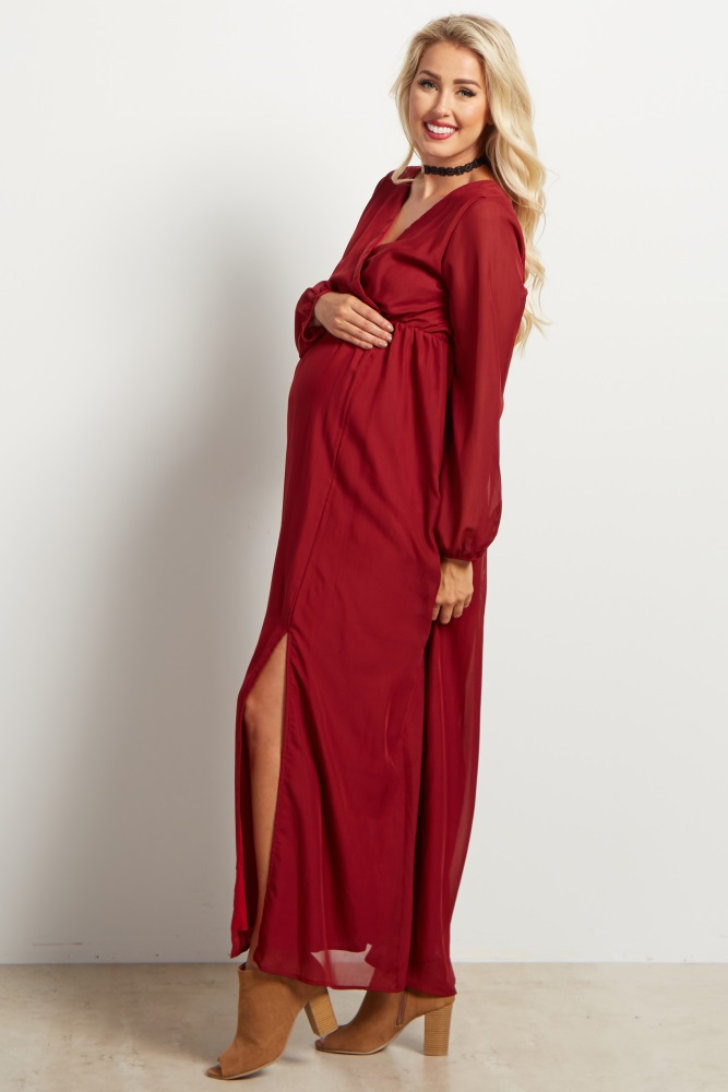 c021b2ad406 Burgundy Chiffon Maternity Maxi Dress