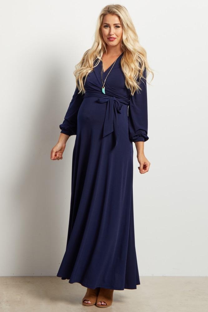 751c934b0f3 Navy Blue Solid Sash Tie Long Sleeve Wrap Maternity Maxi Dress