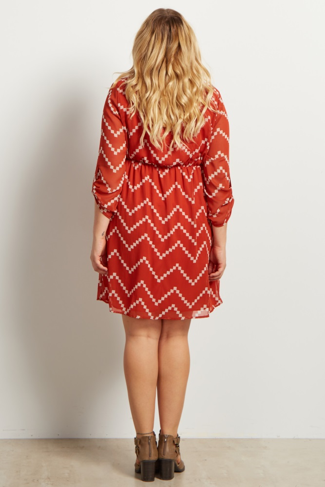 Rust Beige Chevron Print Plus Size Maternity Dress