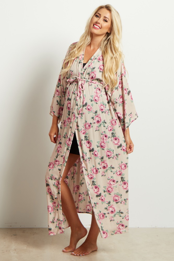 970d700f622 Taupe Floral Delivery Nursing Long Maxi Maternity Robe