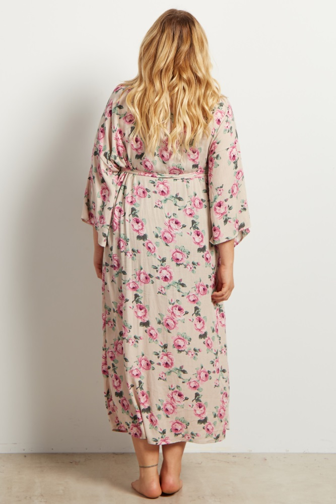 b3755c291f Taupe Floral Delivery Nursing Maxi Plus Maternity Robe