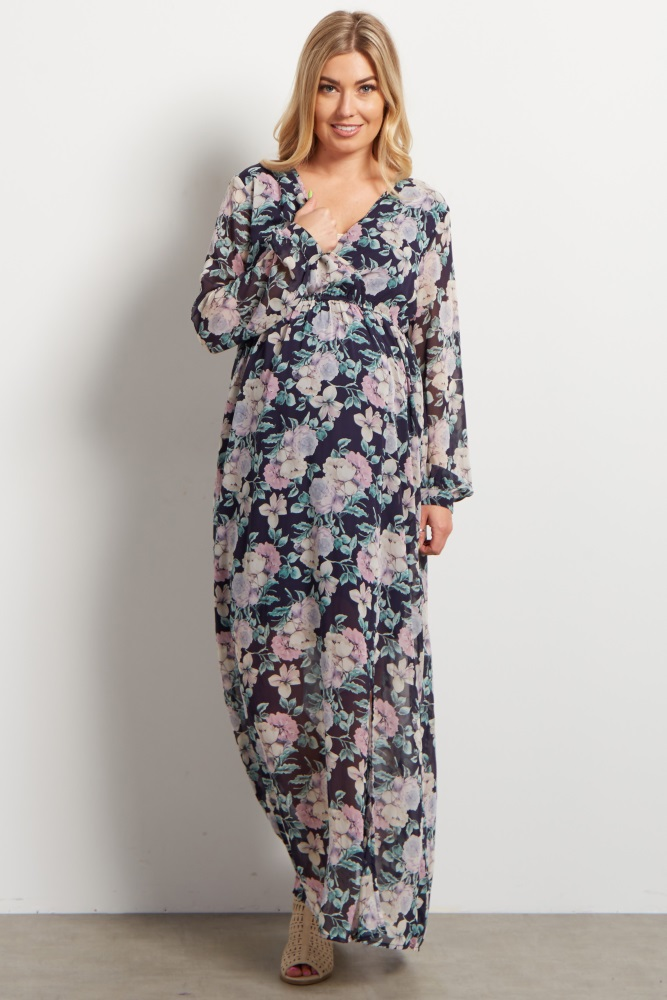 8743a8c9934a Navy Blue Floral Chiffon Long Sleeve V neck Maternity Maxi Dress