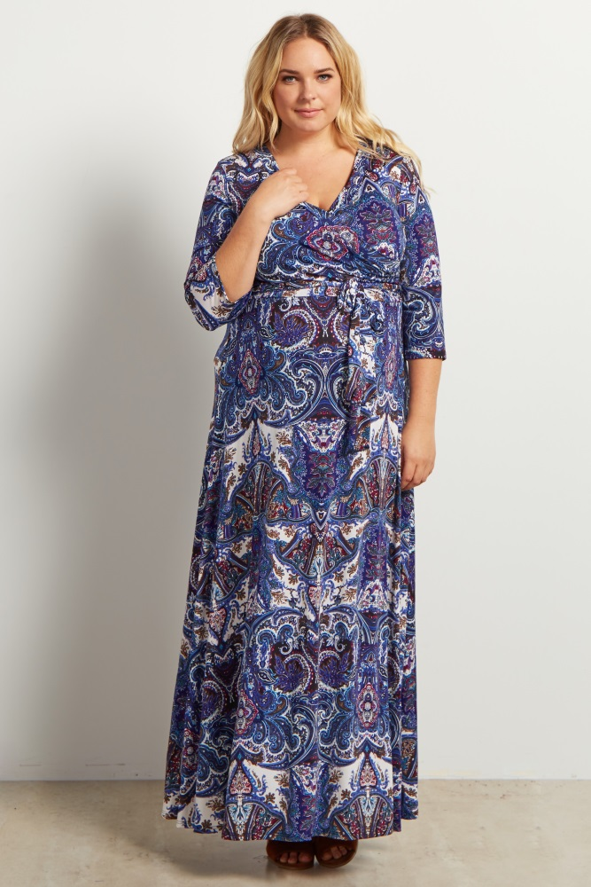 651e7a2541 Blue Paisley Wrap Sash Tie Maternity Plus Maxi Dress