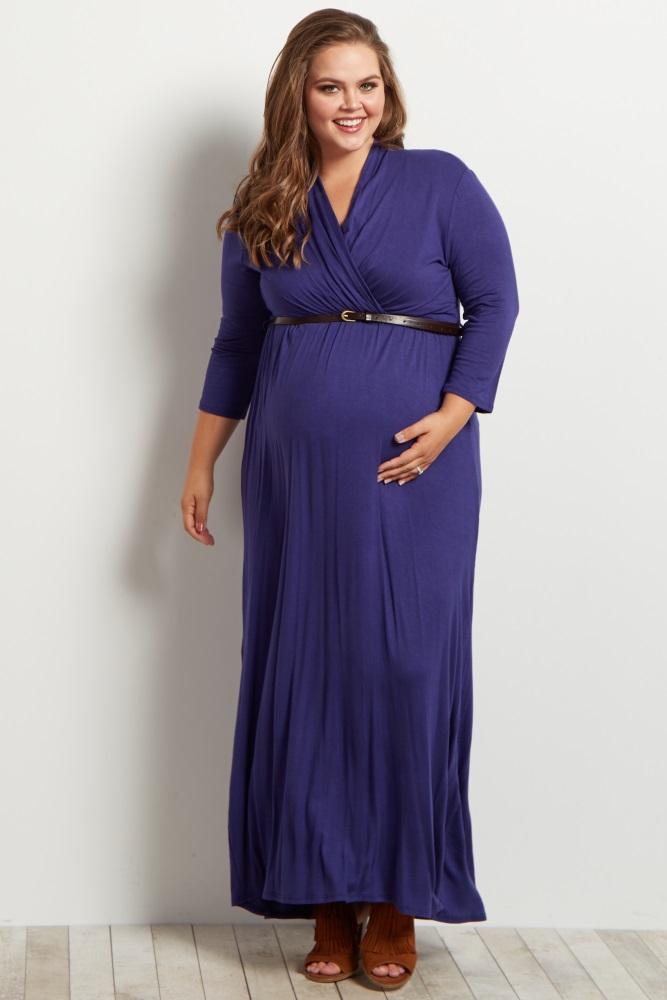 19968e42b3f29 Navy Blue Belted 3/4 Sleeve Maternity/Nursing Maxi Dress