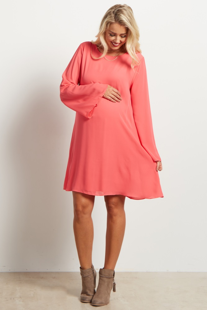 9ae29c80f4d6 Coral Chiffon Bell Sleeve Maternity Dress