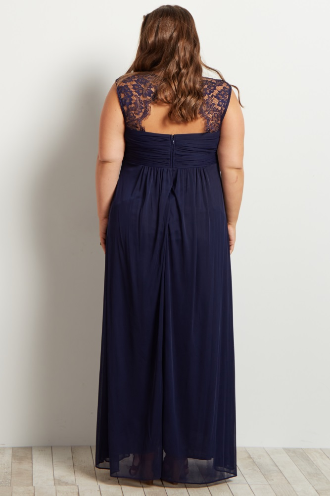64f575a5a8c Navy Lace Accent Chiffon Plus Maternity Evening Gown