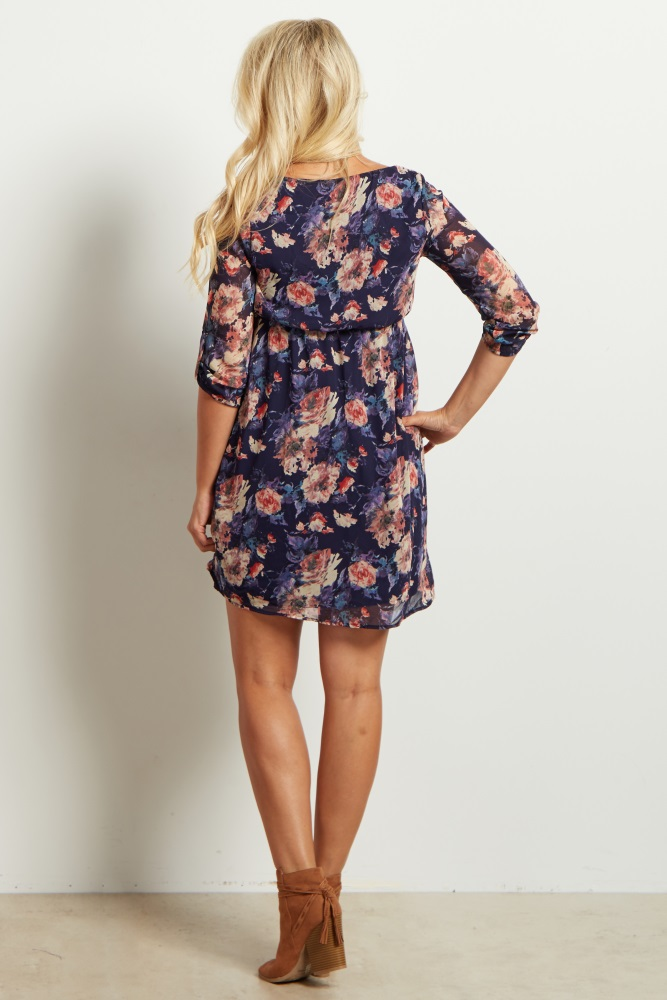 af8665930b646 Navy Blue Floral Chiffon 3/4 Sleeve Maternity Dress