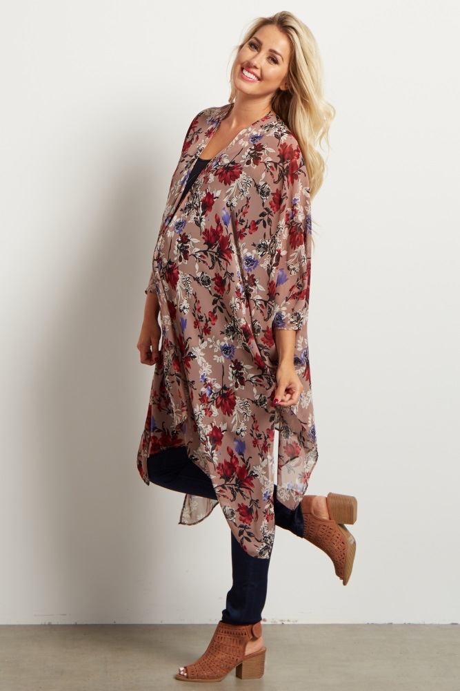 839968dc7646 Mauve Floral Chiffon Maternity Kimono