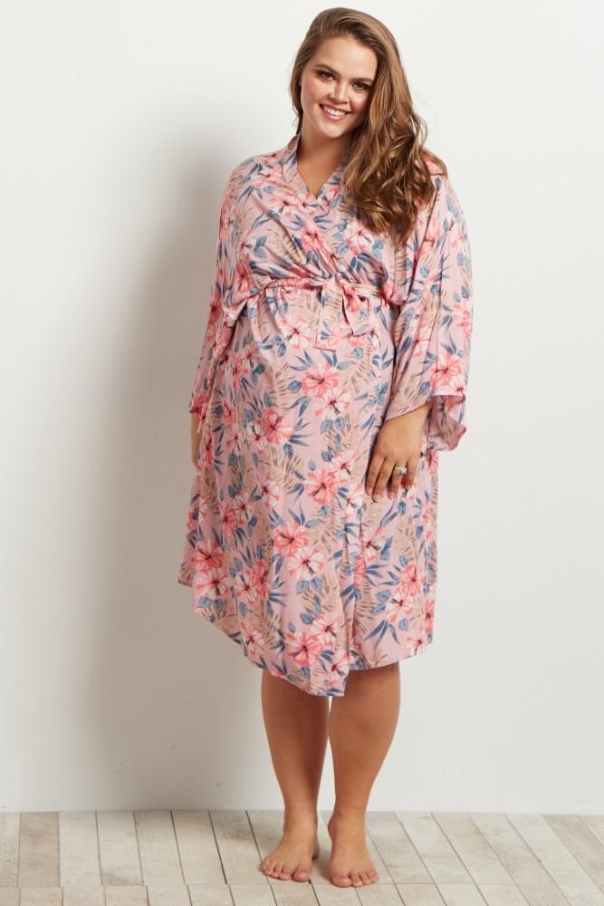 c3d68292a2e Light Pink Tropical Floral Delivery Nursing Maternity Plus Robe