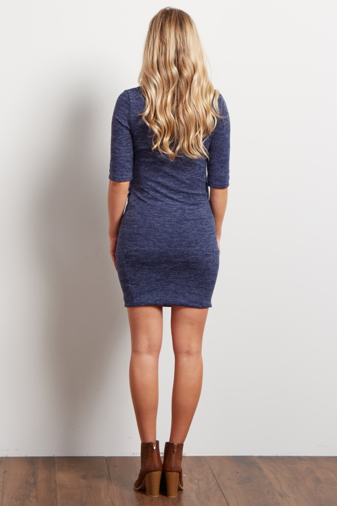 55d3ba14a26 Navy Blue Heathered Soft Knit Maternity Sweater Dress