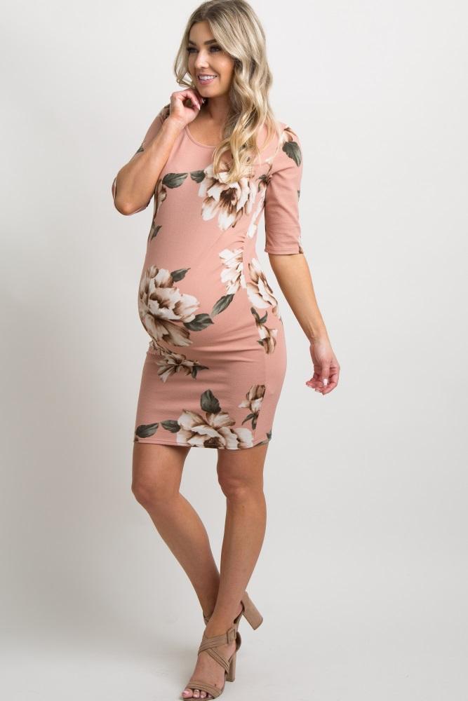 a5de9c246470d Petite Pink Floral Fitted Maternity Dress