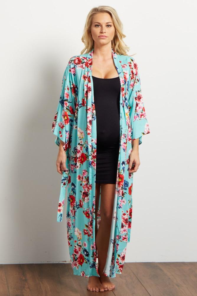 204f68454fc Aqua Floral Delivery Nursing Long Maternity Robe