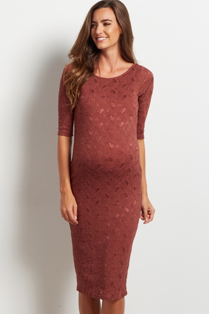 Brown Lace Maternity Dress