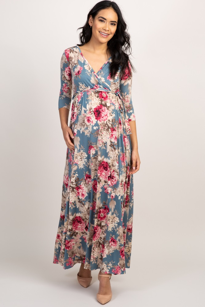 8e28cbca771 Light Blue Floral Sash Tie Maternity Nursing Maxi Dress