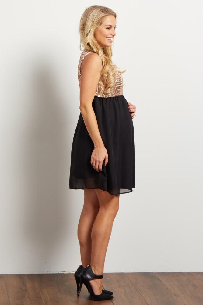 0ba2dee3c4 Black Gold Sequin Embellished Chiffon Maternity Dress