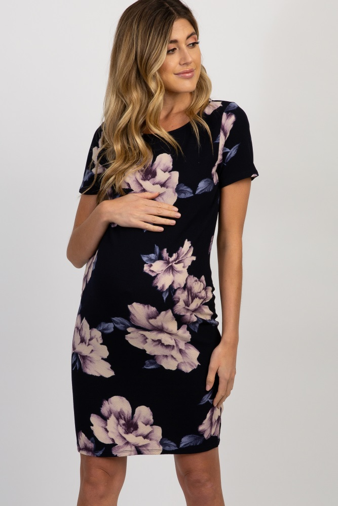 34fd763db37d0 Navy Blue Watercolor Floral Fitted Maternity Dress