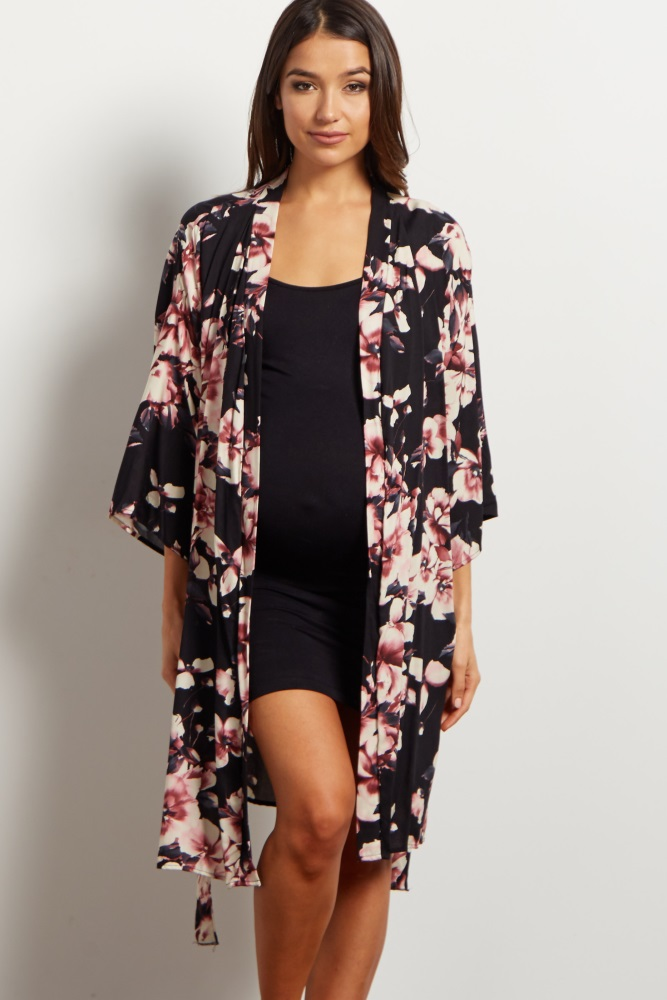 f8ddc92e493 Mauve Floral Delivery Nursing Maternity Robe