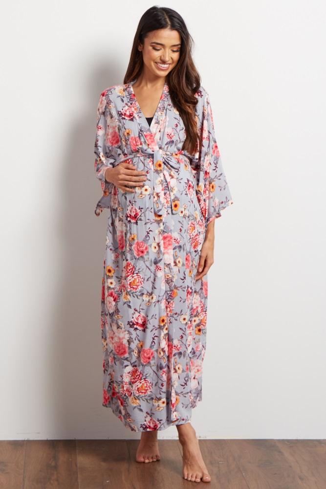 74ec3f9d54b Grey Floral Delivery Nursing Long Maternity Robe