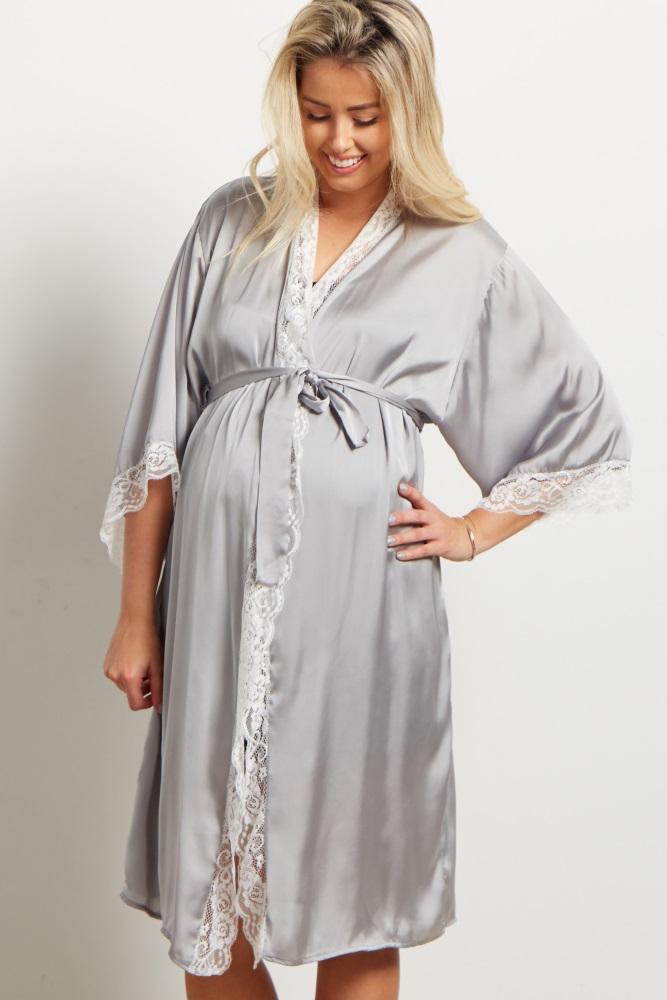 8cc5ba5d1d6 Grey Satin Lace Trim Delivery/Nursing Maternity Robe