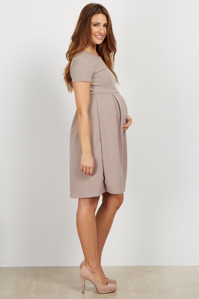 ded5640bcb85d Taupe Basic Pleated Skirt Maternity Dress