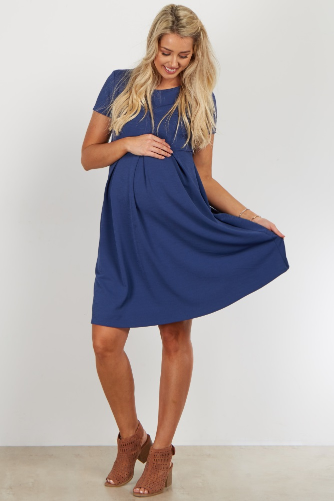 dafe542ff01 Blue Basic Pleated Maternity Dress